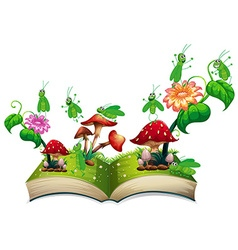 Book with grasshopper and mushroom vector