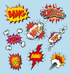 Boom set comic book explosion vector image