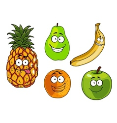 Cartoon apple banana orange pineapple and pear vector image