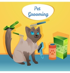 Cat character in groom salon vector