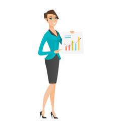 Caucasian business woman showing financial chart vector