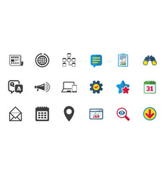 Communication icons news chat messages signs vector