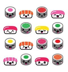 Cute kawaii sushi - japanese food icons set vector