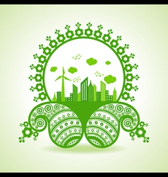 Ecology concept - eco cityscape with paisley desig vector
