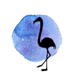 Flamingo in grass silhouette vector