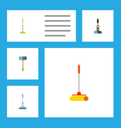 Flat icon cleaner set of besom cleaning cleaner vector
