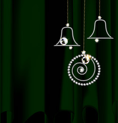 Green and jewelry christmas decoration vector