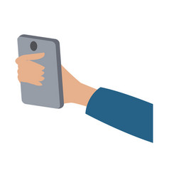 hand holding smartphone technology digital vector image