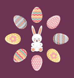 happy rabbit sitting frame eggs decorative festive vector image