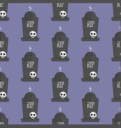 Headstone and skull pattern vector