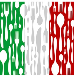 Italian cuisine cutlery pattern vector