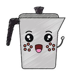 Kettle coffee kawaii character vector