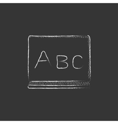 Letters abc on blackboard Drawn in chalk icon vector image vector image