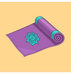Purple cartoon yoga mat vector