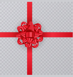 Realistic gift ribbon red bow of on transparent vector