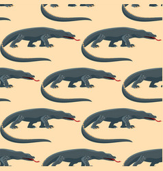 reptile amphibian varan seamless pattern colorful vector image