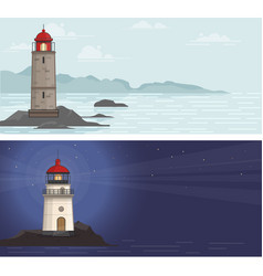 Sea backgrounds with lighthouse vector