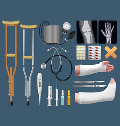 Set of medicine surgical traumatology objects vector