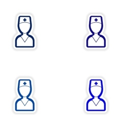 Set paper stickers on white background medical vector