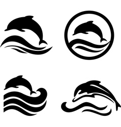 Silhouettes of the dolphins jumping through a wave vector image