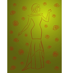 Stylish woman in a long dress among roses over vector