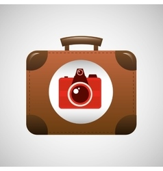 Suitcase vintage camera photograpy travel concept vector