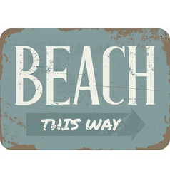 Vintage beach metal sign vector