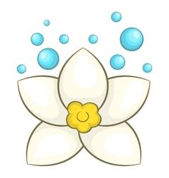 White lotus flower icon cartoon style vector image