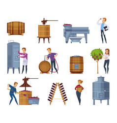 wine production cartoon icons set vector image vector image