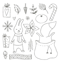 Winter hand drawn elements collection vector image vector image