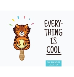 Cute tiger popsicle  ice cream vector