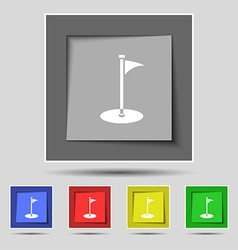 Golf icon sign on original five colored buttons vector image