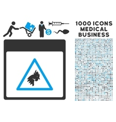 Rooster danger calendar page icon with 1000 vector