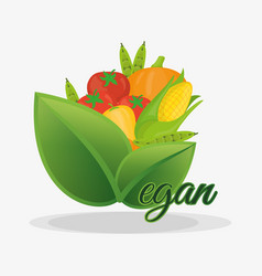 Vegan healthy nutrition fruits and vegetables vector