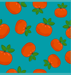 Seamless pattern mandarin on azure background vector