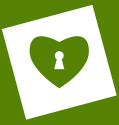 Heart with lock sign  white icon obtained vector