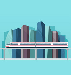 Skytrain subway on backdrop city vector