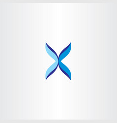 Blue x logo letter logotype sign icon vector