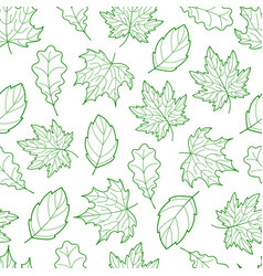 Leaves seamless outline green light vector