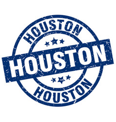 Houston blue round grunge stamp vector