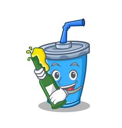 soda drink character cartoon with beer vector image