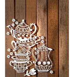 Tea cup background with teapot and jar vector