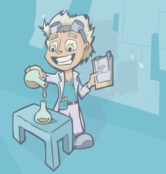 Scientist in laboratory with chemistry experiment vector