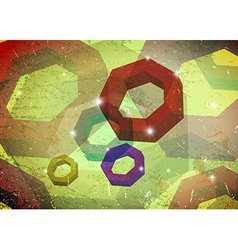 Grungy card with polygon rings vector