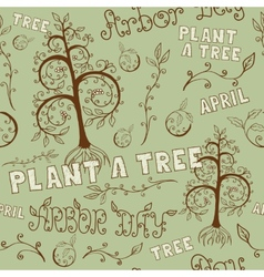 Arbor day hand drawn seamless floral pattern vector