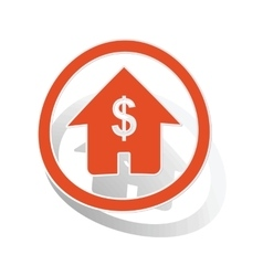 Dollar house sign sticker orange vector