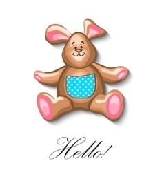 Little bunny soft toy first birthday greeting card vector