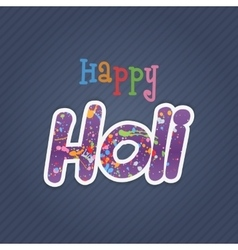Happy holi text with color splashes vector