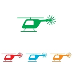 Helicopter sign colorfull set vector