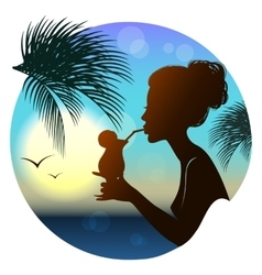 Silhouette of the girl tropical sea view vector